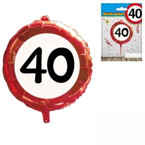 Udo Schmidt Folien-Ballon 40.Geburtstag Kunstsoff 45 cm Partydekoration Geburtstag Luftballon Tischdeko