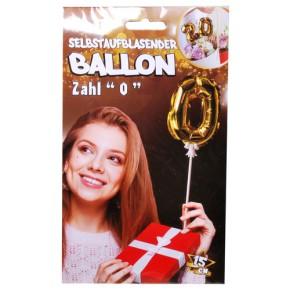 Folien Ballon zum Geburtstag mit Zahl 0 selbstaufblasend Farbe gold
