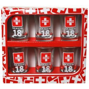 "Schnapsglas ""Medizin - 18"" zum 18. Geburtstag 6tlg. Set"