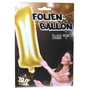 "1 Riesen-Folien-Ballon ""1"", gold  Kunststoff, 1 m"