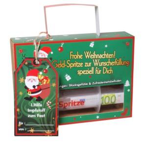 Finanzspritze Deko Spritze befüllbar zu Weihnachten für Geldgeschenke