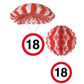 1 Deko Ballon oder 1 Deko Fallschirm mit Schild 18. Geburtstag