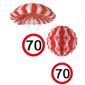 1 Deko Ballon oder 1 Deko Fallschirm mit Schild 70. Geburtstag