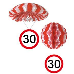 1 Deko Ballon oder 1 Deko Fallschirm mit Schild 30. Geburtstag