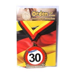 Orden 30 auf Karte zum 30. Geburtstag