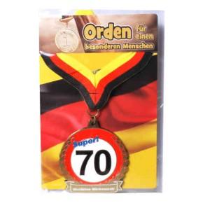 Orden 70 auf Karte zum 70. Geburtstag