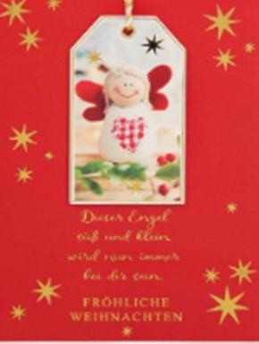 Lustige Weihnachtskarte Klappkarte Dieser Engel süß und klein wird nun...