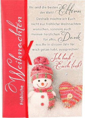 Emotions Weihnachtsklappkarte Ihr seid die besten Eltern der Welt! ... für Geldgeschenke 1 Karte