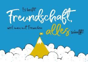 Neon Postkarte mit Spruch - Es heißt Freundschaft, weil man mit...