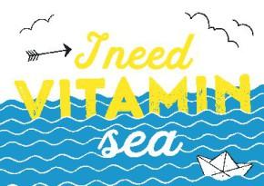 Neon Postkarte mit Spruch - I need Vitamin sea