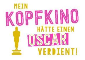 Neon Postkarte mit Spruch - Mein Kopfkino hätte einen Oscar verdient
