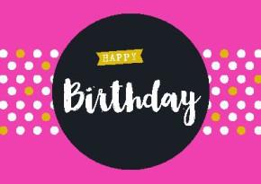 Neon Postkarte mit Spruch - Happy Birthday
