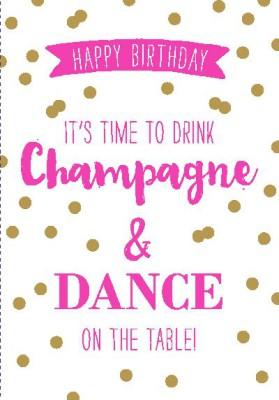 NEON Klappkarten mit Spruch-  Happy Birthday! It´s time to drink...