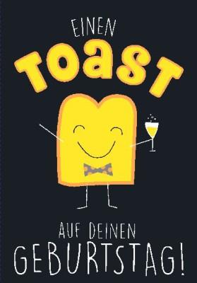 NEON Klappkarten mit Spruch - Einen Toast auf deinen Geburtstag
