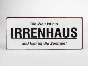 Metall Wandbild 30 x 13cm mit Spruch Irrenhaus