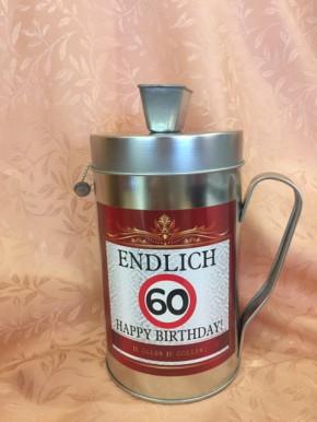 Spardose Spendenkasse mit Spruch zum 60. Geburtstag