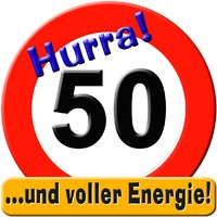Schild Hurra 50