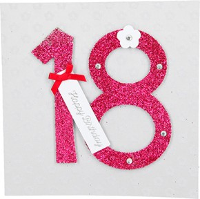 Glamour Glitzer Grußkarte Klappkarte mit Umschlag zum 18. Geburtstag ,quadratisch 001