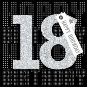 Glamour Glitzer Grußkarte Klappkarte mit Umschlag zum 18.Geburtstag ,quadratisch 002