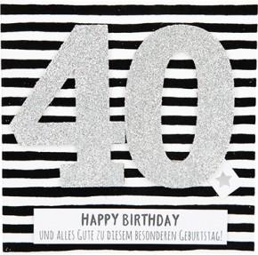 Glamour Glitzer Grußkarte Klappkarte mit Umschlag zum 40. Geburtstag ,quadratisch 004
