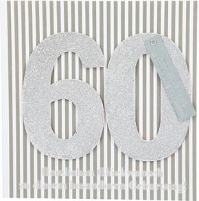 Glamour Glitzer Grußkarte Klappkarte mit Umschlag zum 60. Geburtstag ,quadratisch 008