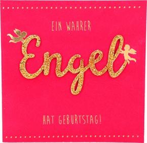 Glamour Glitzer Grußkarte Klappkarte mit Umschlag - Ein wahrer Engel hat Geburtstag!  ,quadratisch 012