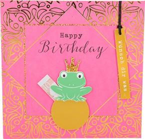 Glamour Glitzer Grußkarte Klappkarte mit Umschlag Happy Birthday Wünsch dir was  ,quadratisch 015