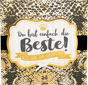 Glamour Glitzer Grußkarte Klappkarte mit Umschlag Du bist einfach die Beste! Alles Liebe..  ,quadratisch 022