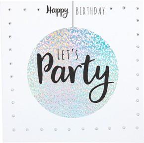 Glamour Glitzer Grußkarte Klappkarte mit Umschlag Happy Birthday Let's Party  ,quadratisch 024