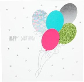 Glamour Glitzer Grußkarte Klappkarte mit Umschlag Happy Birthday ,quadratisch 028