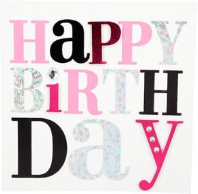 Glamour Glitzer Grußkarte Klappkarte mit Umschlag Happy Birthday ,quadratisch 031