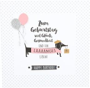 Glamour Glitzer Grußkarte Klappkarte mit Umschlag Zum Geburtstag viel Glück, Gesundheit...  ,quadratisch 034