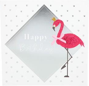 Glamour Glitzer Grußkarte Klappkarte mit Umschlag Happy Birthday  ,quadratisch 035