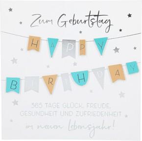 Glamour Glitzer Grußkarte Klappkarte mit Umschlag Zum Geburtstag Happy Birthday 365 Tage..  ,quadratisch 038