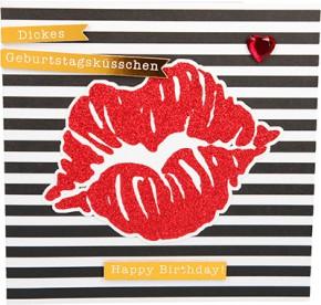 Glamour Glitzer Grußkarte Klappkarte mit Umschlag Dickes Geburtstagsküsschen Happy ...  ,quadratisch 041
