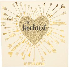 Glamour Glitzer Grußkarte Klappkarte mit Umschlag Zur Hochzeit die besten Wünsche ,quadratisch 044