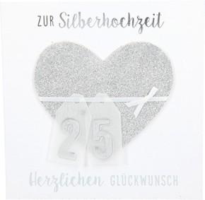 Glamour Glitzer Grußkarte Klappkarte mit Umschlag Zur Siberhochzeit Herzlichen Glückwunsch  ,quadratisch 047