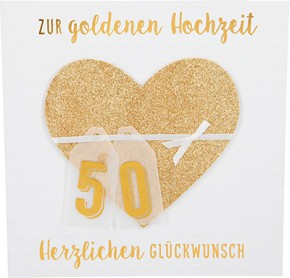 Glamour Glitzer Grußkarte Klappkarte mit Umschlag Zur Goldhochzeit Herzlichen Glückwunsch  ,quadratisch 048