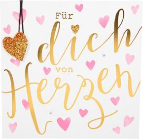 Glamour Glitzer Grußkarte Klappkarte mit Umschlag Für Dich von Herzen  ,quadratisch 054