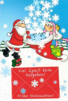 Fröhliche Weihnachtskarte als Klappkarte 8622-012 Viel Spaß beim Ausgeben! Frohe Weihnacht