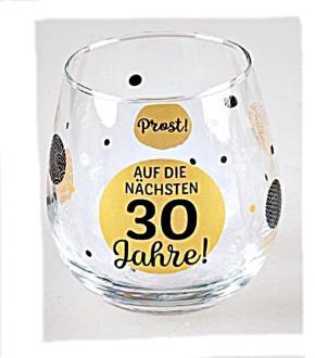 """Whiskyglas, Wasserglas oder auch Weinglas mit Spruch zum 30. Geburtstag """"Auf 30"""""""