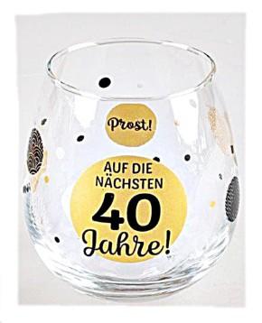 """Whiskyglas, Wasserglas oder auch Weinglas mit Spruch zum 40. Geburtstag """"Auf 40"""""""