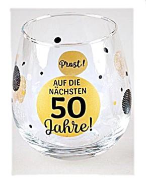 """Whiskyglas, Wasserglas oder auch Weinglas mit Spruch zum 50. Geburtstag """"Auf 50"""""""