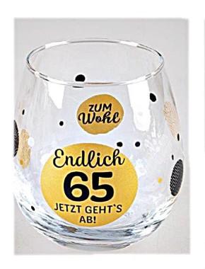 """Whiskyglas, Wasserglas oder auch Weinglas mit Spruch zum 65. Geburtstag """"Endlich 65"""""""