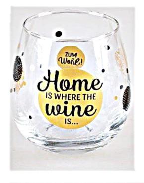 """Whiskyglas, Wasserglas oder auch Weinglas mit Spruch """"Home is Where the Wine is"""""""