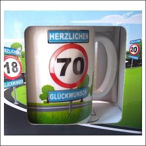 Tasse Becher mit Motiv Verkehrsschild 70