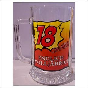 Glas Bierkrug zum 18. Geburtstag Endlich Volljährig