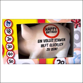 Sparschwein Spardose zum zerschlagen Happy Birthday