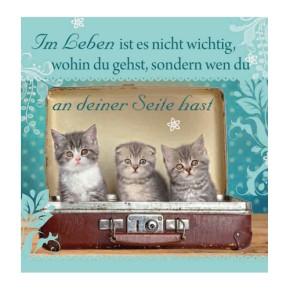 Geschirrtuch Katzen Motiv mit Spruch An Deiner Seite