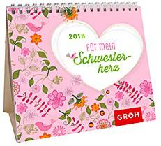 Groh Mini-Kalender 2018 zum Aufstellen Schwesterherz